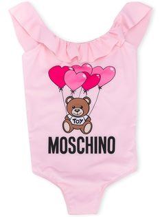 Moschino Kids купальник с оборками и логотипом