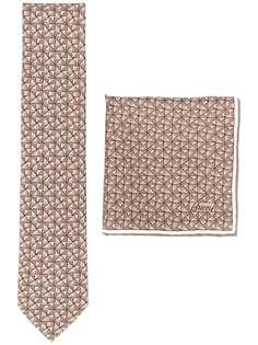 Brioni набор из платка и галстука с узором