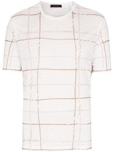 Ermenegildo Zegna футболка в клетку с вышивкой
