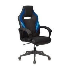 Кресло игровое БЮРОКРАТ VIKING 3 AERO, на колесиках, искусственная кожа/ткань, синий/черный [viking 3 aero blue]