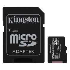 Карта памяти microSDHC UHS-I U1 KINGSTON Canvas Select Plus 32 ГБ, 100 МБ/с, Class 10, SDCS2/32GB, 1 шт., переходник SD