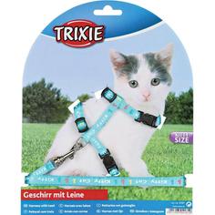 Шлейка и поводок для котят TRIXIE Нейлоновый с рисунком 21-33 см В ассортименте