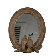 Зеркало Glasar овальное настольное в винтажном стиле с птичками у основания 19x24x4 см ГЛАСАР