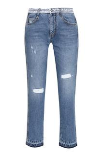 Укороченные синие джинсы с кружевом Ermanno Scervino