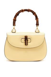Компактная кожаная сумка с бамбуковой ручкой Gucci