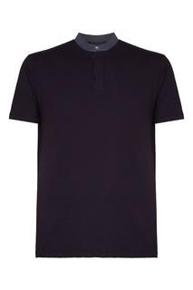 Темно-синяя футболка с пуговицами Emporio Armani
