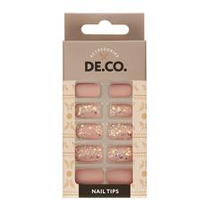 Набор накладных ногтей DE.CO. HOLO Matt sand 24 шт+ клеевые стикеры 24 шт Deco