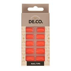 Набор накладных ногтей DE.CO. GLOW Orange 24 шт+ клеевые стикеры 24 шт Deco