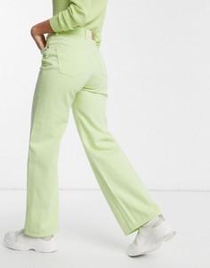 Широкие джинсы из органического хлопка с завышенной талией Monki Yoko-Зеленый
