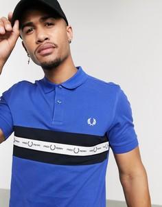 Синяя футболка-поло с фирменной лентой Fred Perry-Синий