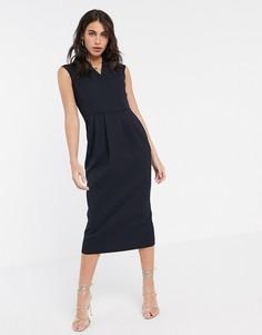 Темно-синее платье с запахом Closet-Темно-синий