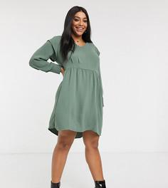 Платье мини цвета хаки с оборками Vero Moda Curve-Зеленый