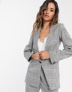 Светлый пиджак в клетку Closet London-Серый