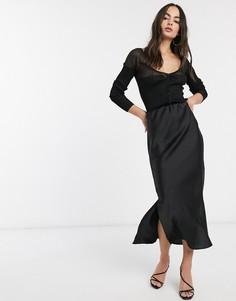 Черная атласная юбка миди с разрезами ASOS DESIGN-Черный
