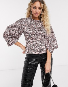 Розовая блузка с леопардовым принтом Topshop-Мульти