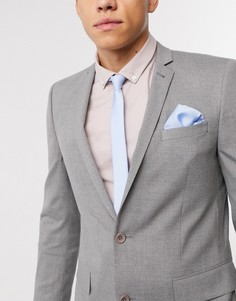 Бледно-голубой атласный галстук и платок для нагрудного кармана ASOS DESIGN-Синий