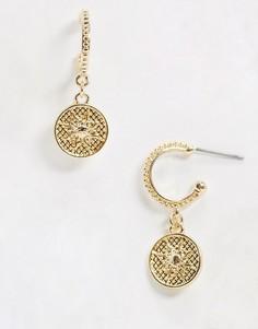 Золотистые серьги-кольца с подвесками Topman-Золотой