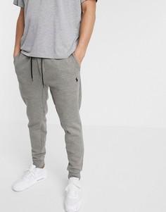 Серые меланжевые джоггеры узкого кроя с кромкой манжетом Polo Ralph Lauren-Серый