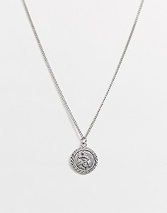 Серебристая цепочка с подвеской-монеткой ASOS DESIGN-Серебряный