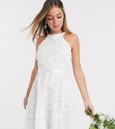 Белое кружевное свадебное платье мини Y.A.S Petite-Белый