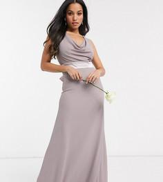 Серое платье макси со свободным воротом и бантом на спине TFNC Petite Bridesmaids-Серый