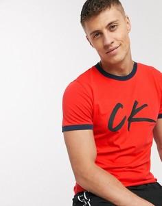Красная пляжная футболка с логотипом Calvin Klein-Красный