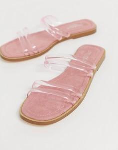 Сандалии-слипоны с прозрачными ремешками Truffle Collection-Розовый