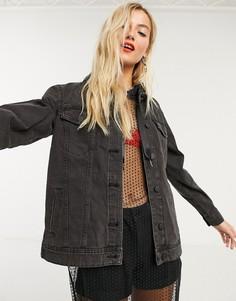 Черная джинсовая oversize-куртка Noisy May-Черный