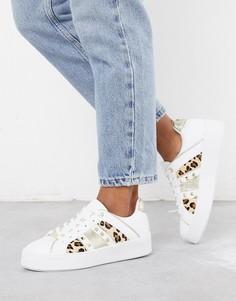 Белые кроссовки с леопардовыми вставками и треугольными заклепками River Island-Белый