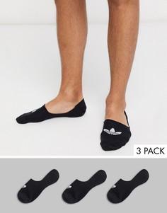3 пары черных невидимых носков adidas-Черный