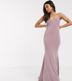 Платье макси с годе и перекрестными бретельками на спине Club L Petite-Фиолетовый