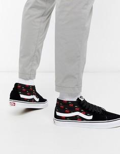 Черные кроссовки средней высоты с принтом вишен Vans SK8-Mid-Черный