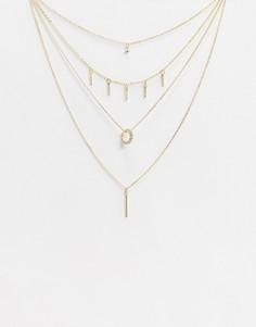 Золотистое ожерелье в несколько рядов со стразами River Island-Золотой