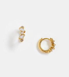 Позолоченные серьги-кольца с камнями овальной огранки Orelia-Золотой