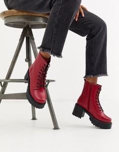 Красные высокие ботинки из искусственной кожи на шнуровке Koi Footwear-Красный