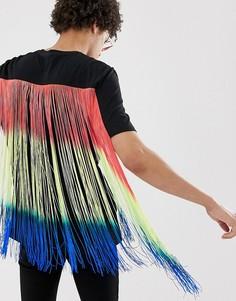Черная фестивальная свободная футболка с длинной разноцветной бахромой ASOS DESIGN-Черный