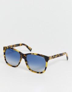 Черепаховые солнцезащитные очки в квадратной оправе с зеркальными стеклами Marc Jacobs-Коричневый