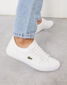 Белые парусиновые кроссовки Lacoste Lerond-Темно-синий