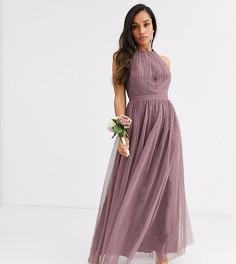 Платье макси с вырезом капелькой Little Mistress Petite-Розовый