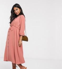Розовое платье-рубашка миди на пуговицах с поясом ASOS DESIGN Maternity-Розовый