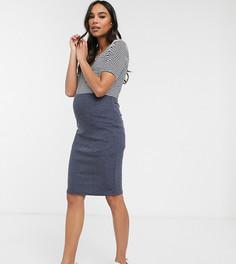 Эластичная юбка-карандаш Mamalicious-Темно-синий Mama.Licious