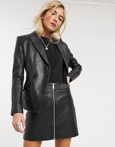 Черная кожаная трапециевидная мини-юбка AllSaints-Черный