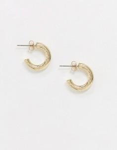 Золотистые серьги-кольца Pieces-Золотой