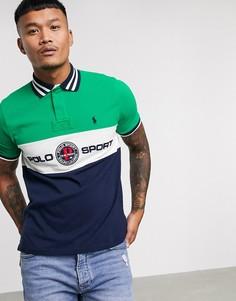 Зеленое поло из пике с отделкой и логотипом на груди Polo Ralph Lauren Sport Capsule-Зеленый