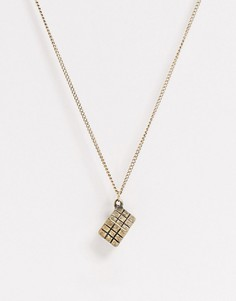 Золотистое ожерелье с подвеской-кубом ASOS DESIGN-Золотой