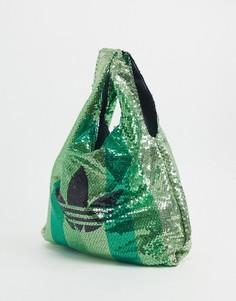 Зеленая сумка с трилистником и пайетками adidas Originals x Anna Isoniemi-Зеленый