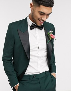 Зеленый приталенный пиджак-смокинг ASOS DESIGN wedding