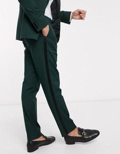 Зеленые узкие брюки под смокинг ASOS DESIGN wedding-Зеленый