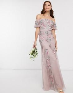 Розовое платье макси со сплошным цветочным рисунком Maya Bridesmaid-Розовый цвет