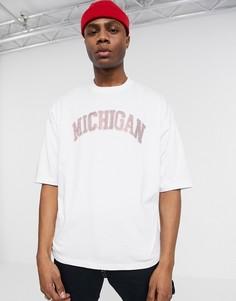 Oversized-футболка с отделкой камнями ASOS DESIGN-Белый